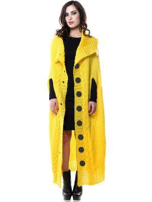 Пальто-кейп-накидка вязаное SEANNA. Цвет: желтый