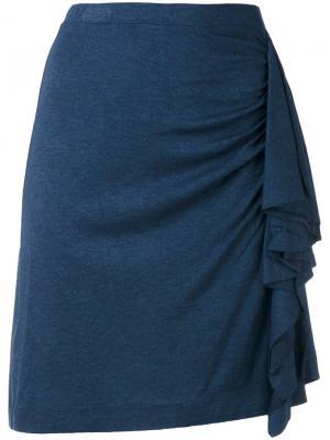 Юбка с присборенной отделкой Paul & Joe. Цвет: синий