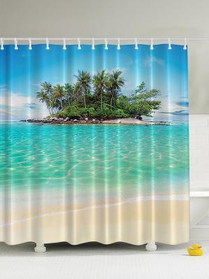 Фотоштора для ванной Горячий песок, 180*200 см Magic Lady. Цвет: бирюзовый, бежевый, белый, голубой, зеленый, морская волна