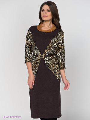 Платье МадаМ Т. Цвет: темно-коричневый, хаки, белый