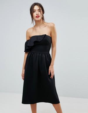 True Violet Структурированное платье-бандо с оборкой. Цвет: черный