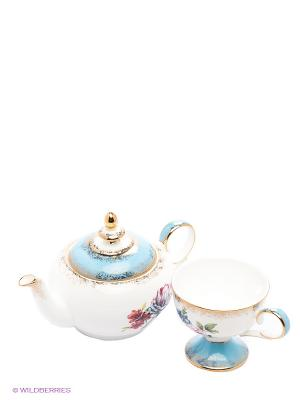 Чайный набор Цветок Неаполя (Fiore Napoli Pavone) Pavone. Цвет: белый, голубой, золотистый