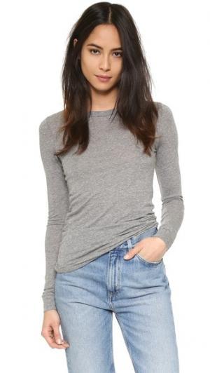 Эффектный пуловер с округлым вырезом Enza Costa. Цвет: серый меланж