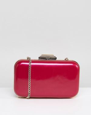 Dune Розовый клатч цвета металлик с ремешком-цепочкой. Цвет: розовый