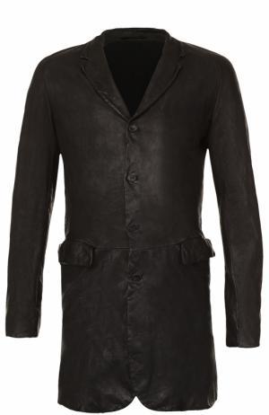 Кожаное однобортное пальто Salvatore Santoro. Цвет: черный