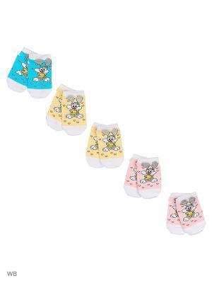 Носки детские (5 пар) HOSIERY. Цвет: розовый, желтый, бирюзовый