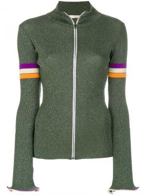 Куртка на молнии Ssheena. Цвет: зелёный