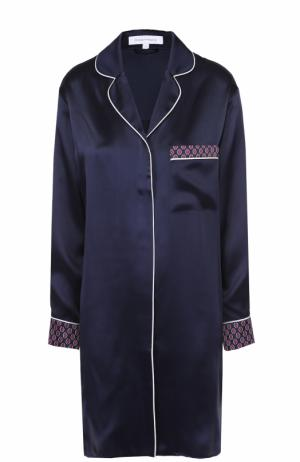 Шелковая сорочка с накладным карманом и контрастной отделкой Olivia Von Halle. Цвет: темно-синий