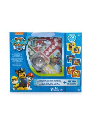 Игровой набор Spin Master 2-в-1 - игра с кубиком и фишками + карточки Memory Щенячий Патруль. Цвет: синий