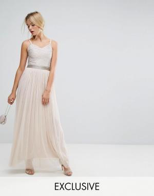 Amelia Rose Декорированное платье макси с юбкой из тюля. Цвет: коричневый