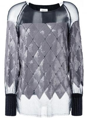Прозрачная блузка с пайетками Aviù. Цвет: серый