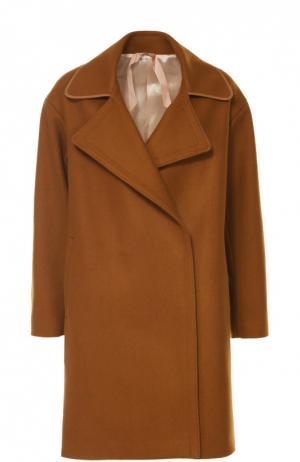 Пальто прямого кроя с вышивкой на спинке No. 21. Цвет: коричневый