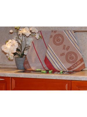 Набор жаккардовых полотенец 50х70 2 штуки SET-9 (Кофе, Какао)в пакете ТекСтиль для дома. Цвет: коричневый, голубой, бежевый, красный