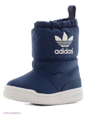 Сапоги Slip On Boot K Adidas. Цвет: синий, белый