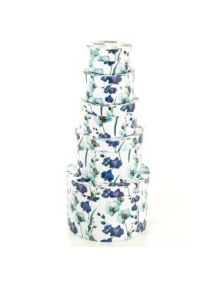 Коробка картонная, набор из 5 шт. 9*9*5-19*19*13 см. Ирисы VELD-CO. Цвет: индиго, светло-голубой, серо-зеленый