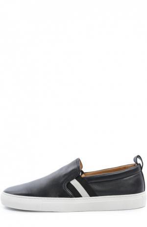 Кожаные слипоны с контрастной отделкой Bally. Цвет: темно-синий