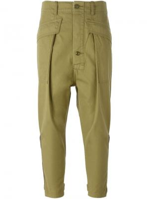 Укороченные брюки карго Nlst. Цвет: зелёный