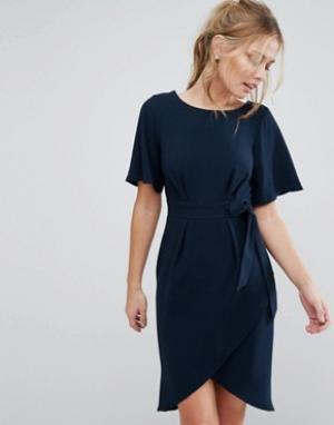Closet London Платье с рукавами‑кимоно и завязкой спереди. Цвет: темно-синий