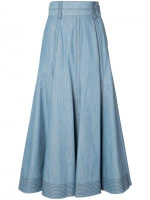 Расклешенная юбка шамбре Gabriela Hearst. Цвет: синий