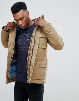 Jack & Jones Парка со съемной стеганой курткой Vintage. Цвет: бежевый
