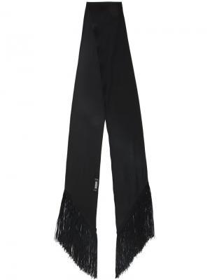 Узкий шарф с бахромой Rockins. Цвет: чёрный