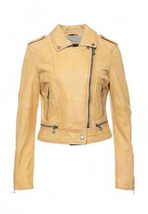Куртка кожаная Oakwood. Цвет: желтый