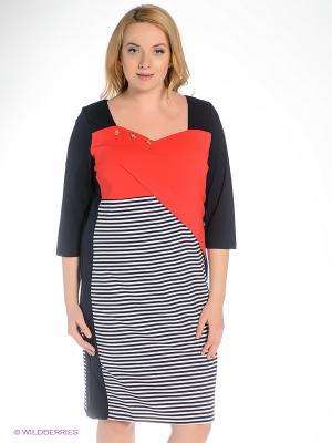 Платье Gemko plus size. Цвет: синий, белый, красный