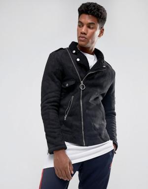 Sixth June Черная байкерская куртка с искусственной овечьей шерстью. Цвет: черный