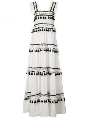 Многоуровневое платье с кисточками Dodo Bar Or. Цвет: белый