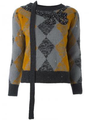 Декорированный трикотажный джемпер Marc Jacobs. Цвет: серый