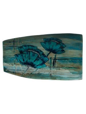 Блюдо 42х26 в инд.упаковке Elff Ceramics. Цвет: голубой, белый, черный