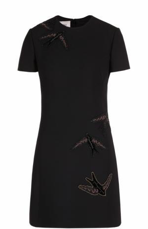 Мини-платье прямого с вышивкой в виде птиц Valentino. Цвет: черный