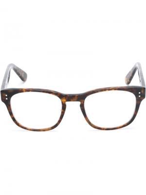Очки с оправой узором черепашьего панциря Masunaga. Цвет: коричневый