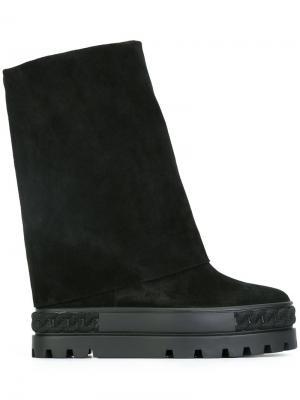 Ботинки на утолщенной подошве Casadei. Цвет: чёрный
