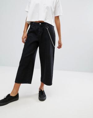Daisy Street Широкие расклешенные джинсы с цепочкой. Цвет: черный