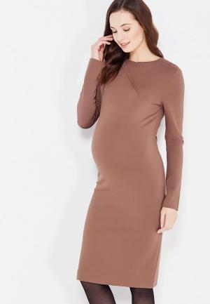Платье MammySize. Цвет: коричневый