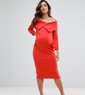 ASOS Maternity Платье для беременных с широким вырезом и плиссировкой. Цвет: красный