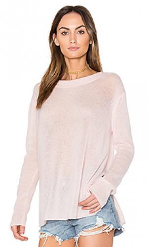 Пуловер с разрезами по бокам White + Warren. Цвет: розовый