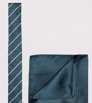 New Look Зеленые галстук в полоску и платок для нагрудного кармана. Цвет: зеленый