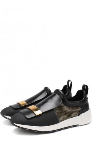 Комбинированные кроссовки с металлической отделкой Sergio Rossi. Цвет: черный
