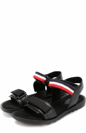 Кожаные сандалии с застежками велькро Moncler Enfant. Цвет: черный