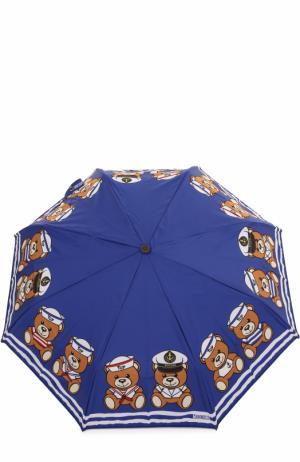 Складной зонт Moschino. Цвет: синий