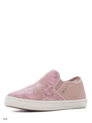 Слипоны GEOX. Цвет: розовый, белый, серебристый