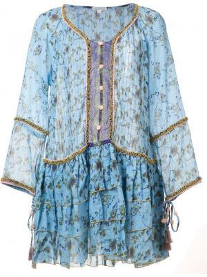 Платье с цветочным узором Poupette St Barth. Цвет: синий