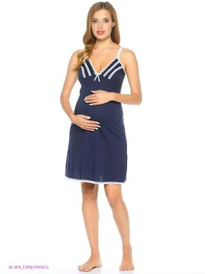 Сорочка женская для беременных и кормящих Hunny Mammy. Цвет: белый, темно-синий