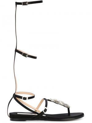 Декорированные сандалии с элементом обезьяны Nº21. Цвет: чёрный