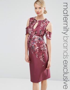 Hope and Ivy Maternity Платье миди для беременных с принтом и вырезами на плечах & M. Цвет: красный