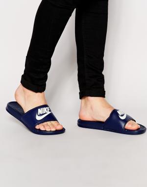 Nike Темно-синие шлепанцы Benassi JDI 343880-403. Цвет: синий