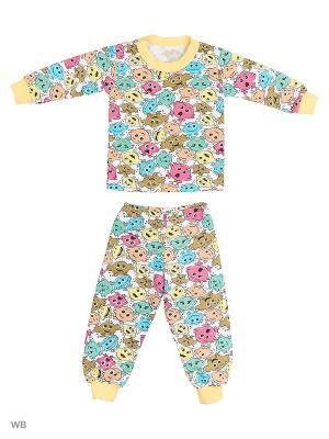 Пижама KIDONLY. Цвет: зеленый, белый, желтый