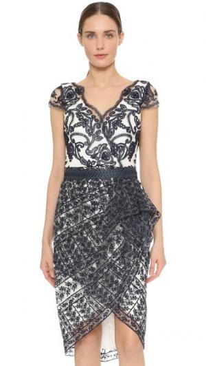 Кружевное коктейльное платье с короткими рукавами Marchesa Notte. Цвет: темно-синий